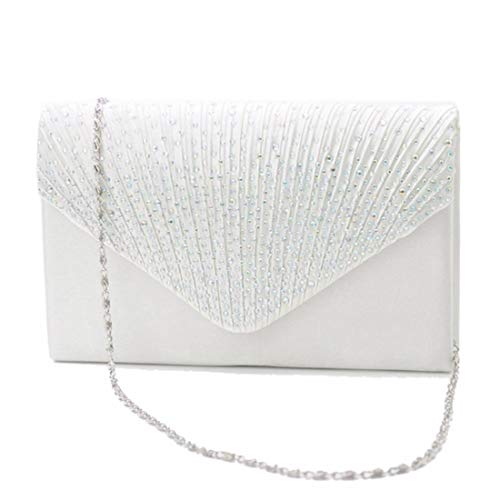 Sac Enveloppe Purse Party Prom White À Givré Strass Satin White color Nuptiale Main Femmes Soirée Clutch 51q0I
