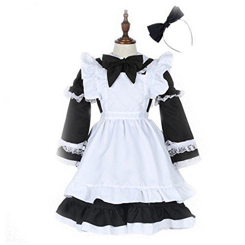 Sinastar Kids' Maid Dress Children's Halloween Costume Maid Uniform For Little Girls -