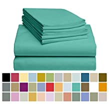 6 PC LuxClub Bamboo Sheet Set w/ 18 inch Deep Pockets - Eco Friendly, Wrinkle Free, Hypoallergentic, Antibacterial, Moisture Wicking, Fade Resistant, Silky, Stronger & Softer than Cotton - Teal Queen