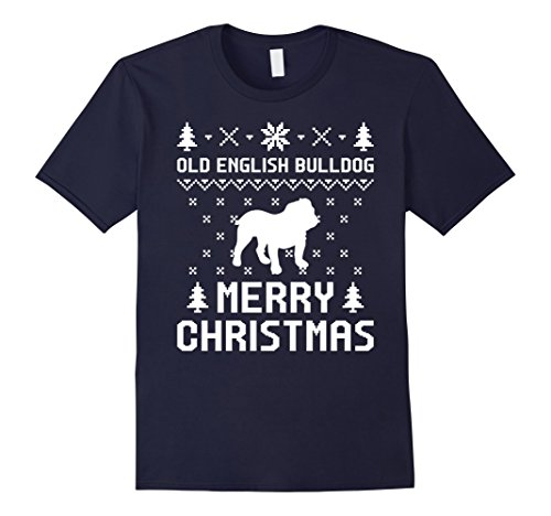 Dog Costumes Old Navy (Mens Old English Bulldog Ugly Christmas Sweater T-shirt Large Navy)