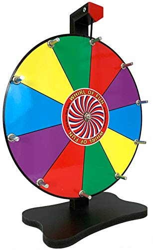 Prize Wheel 12 Inch-Tabletop Color Spinning Wheel with Stand, 10 Slots, Customize with Included Dry Erase Marker, Made in USA by Moon Glow Sports -