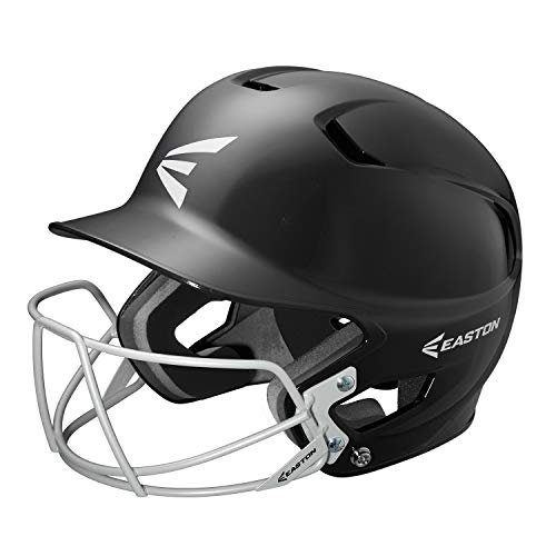 (EASTON Z5 Batting Helmet with Baseball Softball Mask | Senior | Black | 2019 | Black | Dual Density Impact Absorption Foam | High Impact Resistant ABS Shell | Moisture Wicking BioDRI liner)