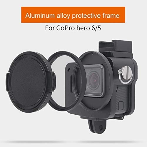 MEETBM ZIMO,Housing Shell CNC Aluminum Alloy Protective Cage with Insurance Frame /& 52mm UV Lens for GoPro HERO7 Black //6//5 Color : Black Black