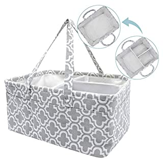 NXY Baby Diaper Caddy Organizer, 17.5 x 13 x 8.7 inch, Extra Large Grey Portable Diaper Holder, Grey Canvas Tote With 10 Outer Pockets, Baby basket, Portable Diaper Storage Basket, baby gift basket.
