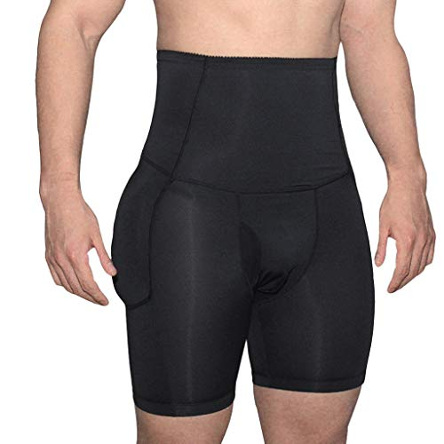 AHAYAKU Men's High Waist Body Slimming Brief Shaper Trainers Slimming Panties Trousers Black