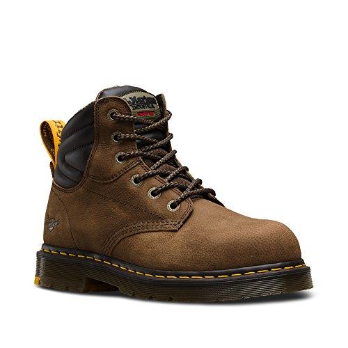 Dr. Martens Men's Hynine Steel Toe 6 Tie Boots, Brown Leather, Rubber, 11 M UK, 12 M US