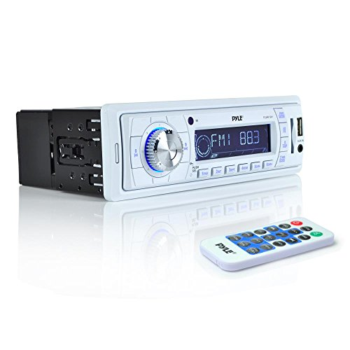 - Pyle Stereo Marine Headunit Receiver - 12v Single DIN Style Digital Boat In dash Radio System w/ MP3 USB SD, AUX, RCA, AM FM Radio, Weatherband - Remote Control, Power Wiring Harness - PLMR19W (White)