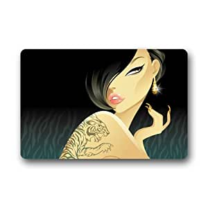 Tattoo Girl Background Doormat/Gate Pad for outdoor,indoor,bathroom use!23.6inch(L) x 15.7inch(W)