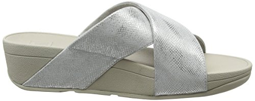 Fitflop Shimmer Diapositive stampa Croce Toe Sandali print Lulu Shimmer Donna Open Da Silver argento IUgFYqwx