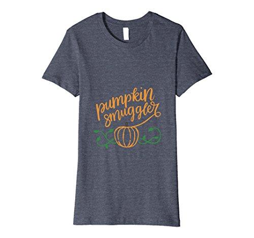 Womens Pumpkin Smuggler Shirt   Pumpkin Pregnancy Shirt Medium Heather Blue