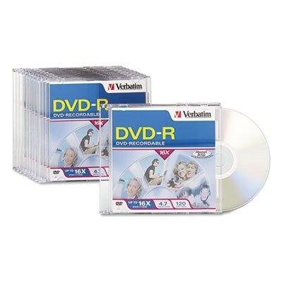 VERBATIM 95099 DVD-R Discs, 4.7GB, 16x, w/Slim Jewel Cases, 10/Pack