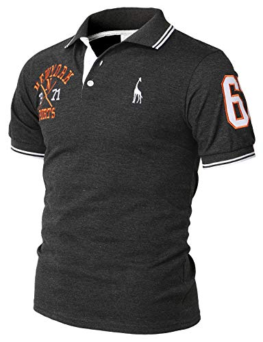 H2H Mens Casual Slim Fit Polo T-Shirts Basic Designed with Giraffe Embroidery Charcoal US M+/Asia 2XL (KMTTS599)