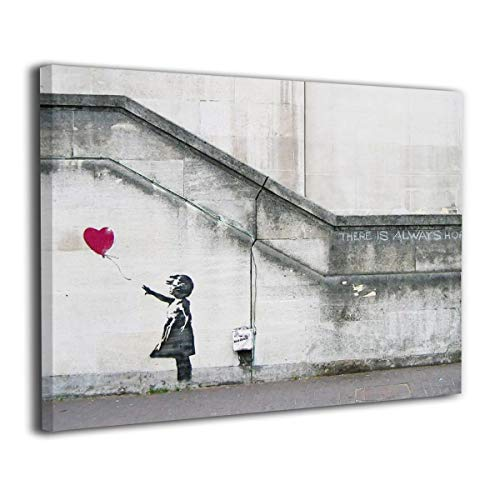UU ART- There is Always Hope Girl with Red Balloon - Banksy Street Artwork On Canvas Stretched Gallery Wrap. Ready to Hang- Canvas Art Wall Decor - 30'' X 48''