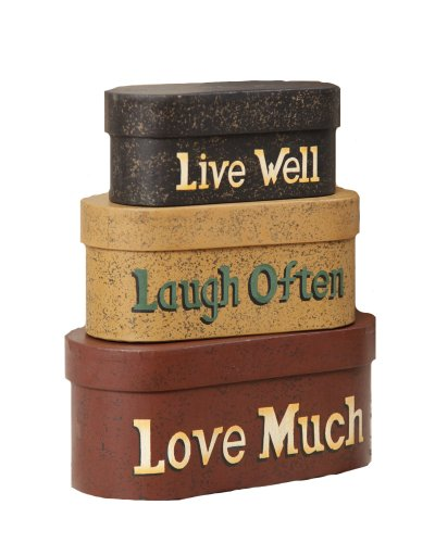 'Live Well, Laugh Often, Love Much' Nesting Boxes, 13-3/4 by 15-1/4 by 8-1/2-Inch, Set of 3 ()