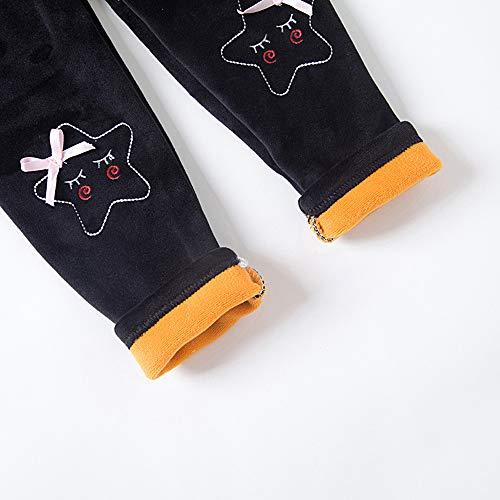 18f06da8 Plustrong Toddler Girls Winter Thick Velvet Pants Fleece Lined Leggings  Tights (Black with Bear,