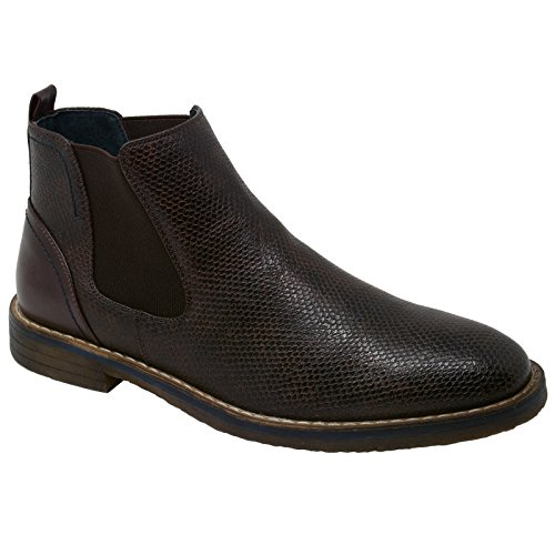 Alpine Leather Boot (alpine swiss Men's Nash Chelsea Boots Snakeskin Ankle Boot Genuine Leather Lined BRN 9 M US)