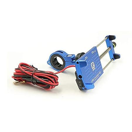 YGL Porte-t/él/éphone Moto avec Chargeur USB Support de T/él/éphone Mobile pour Moto Bicyclette Bleu