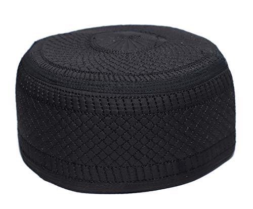 (NDA Kufi Muslim Men's Koofi Arabic Design Islamic Prayer Cap Pakistani Topi Hat (Black 2, 58cm))
