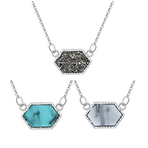 MissNity Silver Faux Druzy Jewelry Set Drusy Necklace Silver Plated Hexagon Pendant for Best Friend (Silver+Gray&Blue&White) ()