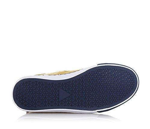 COLMAR - Zapatilla de cordones ocre y azul de poliuretano y ante, con cierre de cremallera lateral, Niño, Chico, Hombre Azul