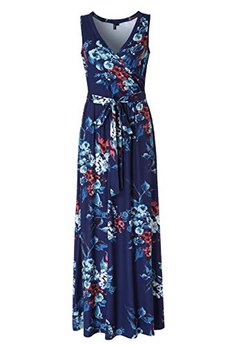 Womens Sleeveless Floral Maxi Dresses for Women V-Neck Summer Long Dress Navy S