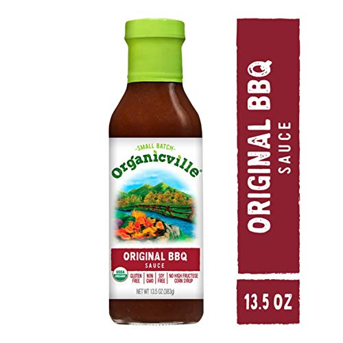 Organicville BBQ Sauce/Marinade, 13.5-oz. Bottle; Vegan, Non-GMO, Gluten Free, Certified Organic, the Sweet Southern Marinade has All-Natural Ingredients, Natural Smoke Flavor