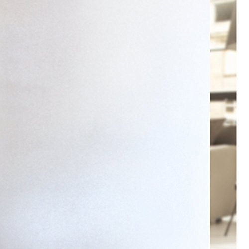 RABBITGOO Privacy Window Film Matte White Window Film Frosted Window Film Static Cling Glass Film Non Adhesive Window Film for Home Bathroom Office Meeting Room Living Room 17.7