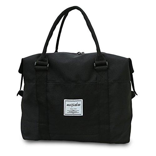 Trolley Black Bag (SENLI Waterproof Handbag Duffle travel bag tote Carry-On shoulder bag for Trips sports-Black)