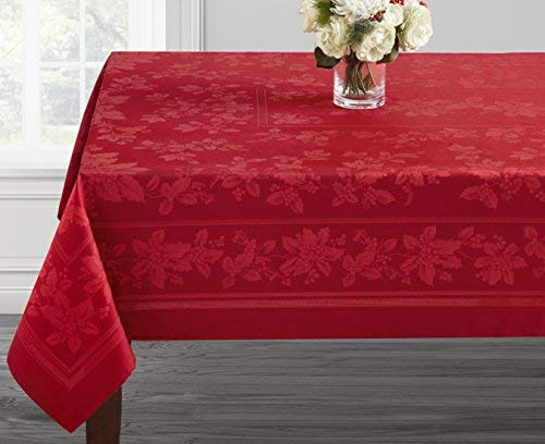 Benson Mills Holiday Elegance Engineered Jacquard Christmas Tablecloth (RED, 60