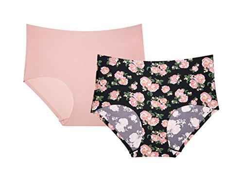 Intimates Sleepwear Panties - Kathy Ireland Womens 2 Pack Full Coverage Invisible Panty Line Brief Panties Black Floral and Pink X-Large