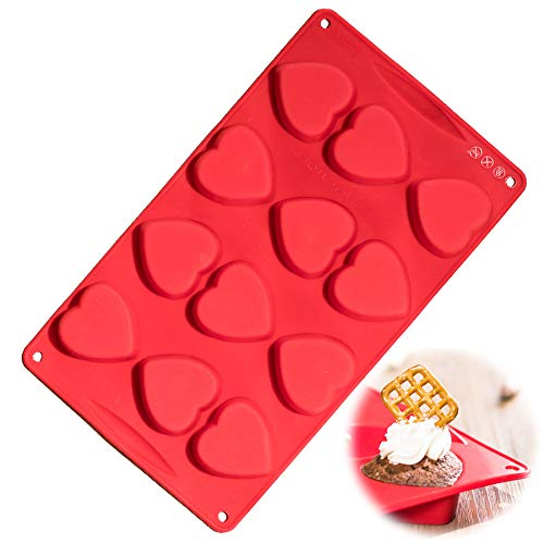 Silicone Heart Mold, Silicone Baking Molds Mini, European Grade LFGB Mini Hearts Shaped Cupcake, Non-Stick Food Grade Silicone Molds for Cookies, Soap Making, Heart Chocolate Cakes, Jello, Pudding