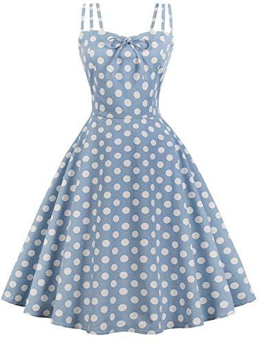Women Vintage 1950s Rockabilly Cocktail Party Swing Dress F02 (Blue, M) -