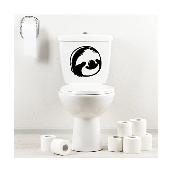 Stickany Bathroom Decal Series Sloth Face Sticker For Toilet Bowl, Bath, Seat (Black) -