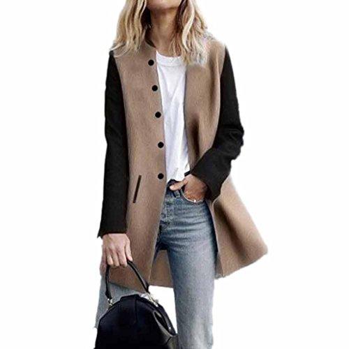 Women Coat,Haoricu Elegant Fall Winter Womens Button Long Sleeve Jacket Ladies Coat With Pockets (M, Khaki)