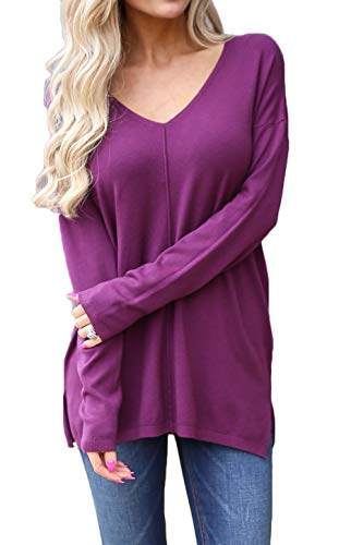 Women Solid Color Comfy Tee, Loose Fit Long Sleeve V Neck Lightweight Top (US XL(16-18), Wine Red)