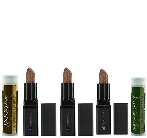 Jarosa Lip Treatment Gift Set of e.l.f. Lip Exfoliator - Clear (3 Tubes) & Jarosa Bee Organic Peppermint Lip Balm & Chocolate Bliss Lip Balm