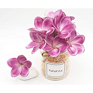 Bunch of 12 PU Real Touch Lifelike Artificial Plumeria Frangipani Flower Bouquets Wedding Home Party Decoration 64
