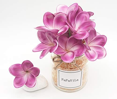 Bunch of 12 PU Real Touch Lifelike Artificial Plumeria Frangipani Flower Bouquets Wedding Home Party Decoration (Plumeria-12 pcs, Matte purple) ()