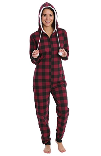 Goofy Pajama Costumes (Nomad Women's French Terry Onesie Adult One Piece Pajamas Loungewear - Red Buffalo Check, Large)