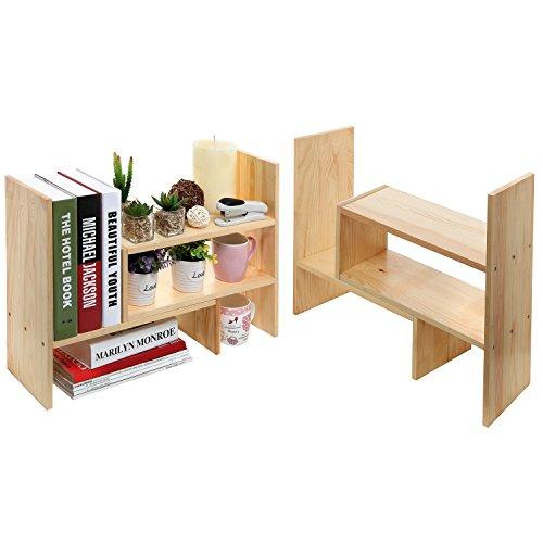 Set of 2 Natural Wood Adjustable Desktop Bookshelves, Countertop Display Storage Organizer