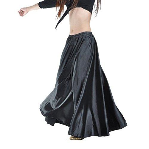 90cm Belly Dance satin longue robe jupe taille lastique conception de tribu merveilleux cadeau, des effets importants de la scne, de la danse quipe / groupe Noir