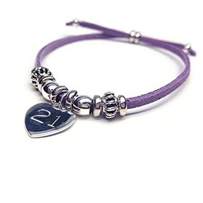 India Girls 21st Birthday Personalised Bracelet Purple