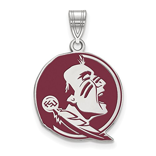 Sterling Silver LogoArt Official Licensed Collegiate Florida State University (FSU) Large Enamel Pendant by LogoArt