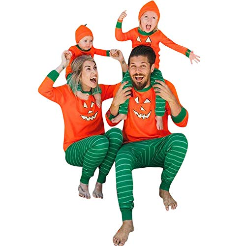 WensLTD Pajamas Halloween Pumpkin Family Pajamas Set 100% Cotton 2 Piece Long Sleeve T-Shirt Pants Outfit Clothing Set (L, Orange-Men)