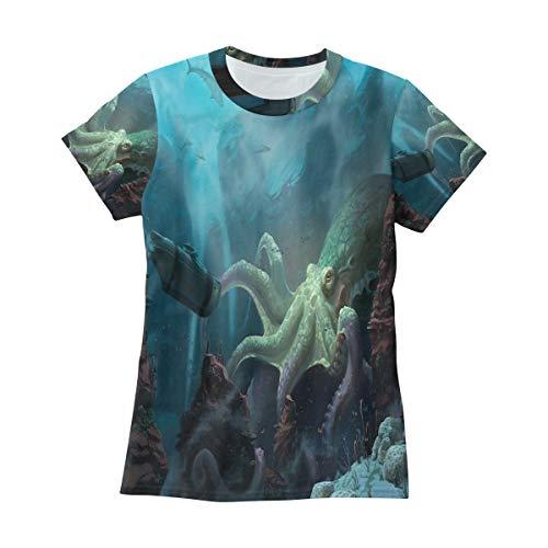 Bei Tang Nautilus Wallpaper T Shirts for Women Top Tee Crew Neck Athletic T-Shirt ()