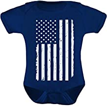 Tstars TeeStars - Big White Distressed U.S Flag 4th Of July American Baby Bodysuit
