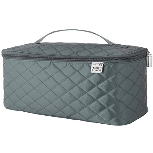 Ellis James Designs Large Travel Makeup Bag Organizer - Cosmetic Train Case Toiletry Bags for Women - Grey - With Handle and Make Up Brush Holders - Professional Hair Dryer Cases and Beauty Storage