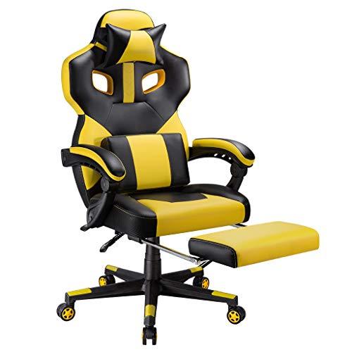 LANGRIA Gaming Silla ergonomica Silla de Oficina de Escritorio para computadora Pesado con inclinacion de 90-175 °, Cuero de PU, reposacabezas Desmontable y Soporte Lumbar (Amarillo y Negro)