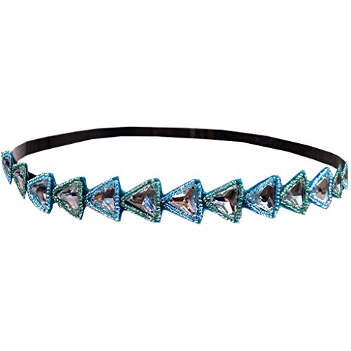 Mia Embellished Beautiful Beaded Headband-Clear Triangular Rhinestones with Blue Beads-One Size Fits All (1 piece per package)