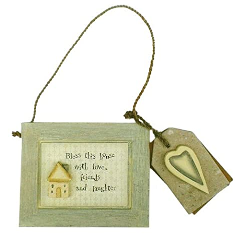 BLESS THIS HOUSE Mini Wooden Wall Plaque - East of India - BROWN (New House Plaque)